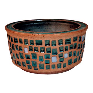Vintage Roger Corsaw Studio Pottery Green Tile Planter Bowl For Sale