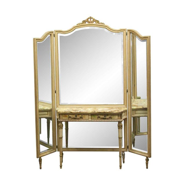 Tan Antique Folding Mirror Vanity Table With Onyx Top For Sale - Image 8 of 8