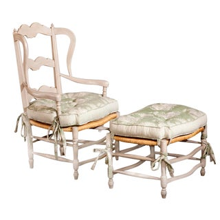 1970s Vintage French Provençal Rush Armchair and Ottoman Stool. For Sale