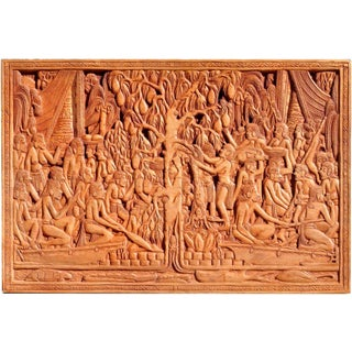 """Vintage Palauan Storyboard Carving Depicting the """"Legend of the Breadfruit Tree"""" Wooden Wall Decor For Sale"""