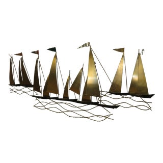 Large Mid-Century Sailing Ships Wall Sculpture