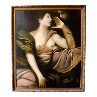 Large Oil on Canvas Modern Remake of 1600's Italian Painter Giulio Procaccini For Sale