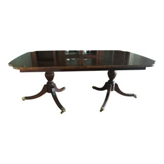 1980s Vintage Mahogany Double Pedestal Dining Table For Sale
