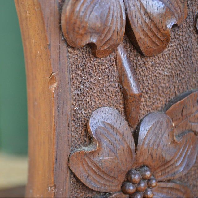 Arts & Crafts Movement Antiques Arts And Crafts Carved Floral Oak Bookends