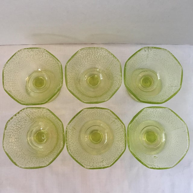Cracked Uranium Lime Green Glass Dishes - Set of 6 For Sale In San Francisco - Image 6 of 11