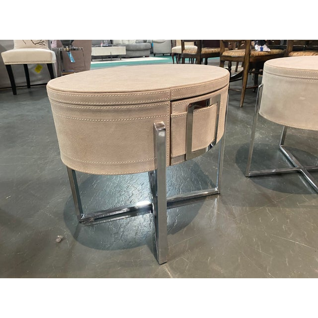 2000 - 2009 Pair of Custom Made Suede End Tables With Stainless Steel Frame For Sale - Image 5 of 10