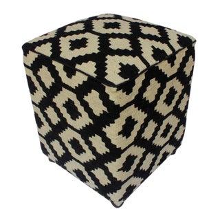 Arshs Domenic Black/Ivory Kilim Upholstered Handmade Ottoman For Sale
