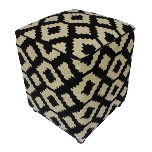 Arshs Domenic Black/Ivory Kilim Upholstered Handmade Ottoman For Sale