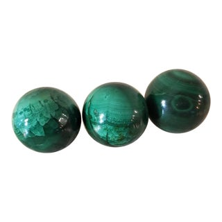 Malachite Carved & Polished Spherical Stones - Set of 3 For Sale