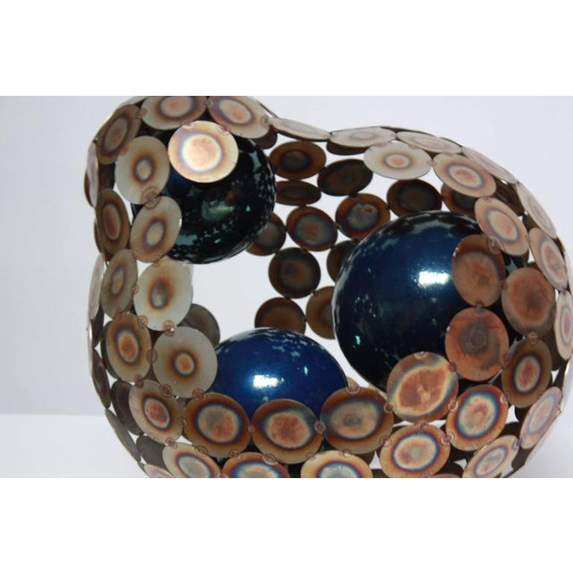 Steel and Enameled Porcelain Abstract Brutalist Table Sculpture - Image 4 of 10