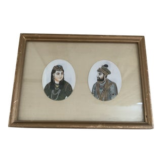 Antique Framed Miniature Indian Mughal Portrait Paintings For Sale