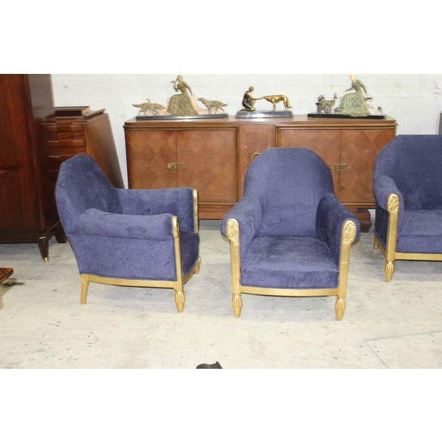 Blue French Art Deco Paul Follot Settee & Chairs - Set of 3 For Sale - Image 8 of 10