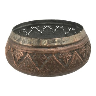 Hand-Etched Antique Copper Bowl For Sale