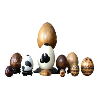 """Ouefs en Bois"" Postmodern Springtime Eggs - Set of 8"
