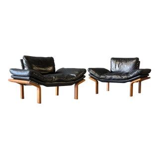 """Danish Black Leather Lounge Chairs by """"Komfort"""" For Sale"""