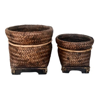 1960s Footed Asian Style Wicker Storage Baskets - a Pair For Sale