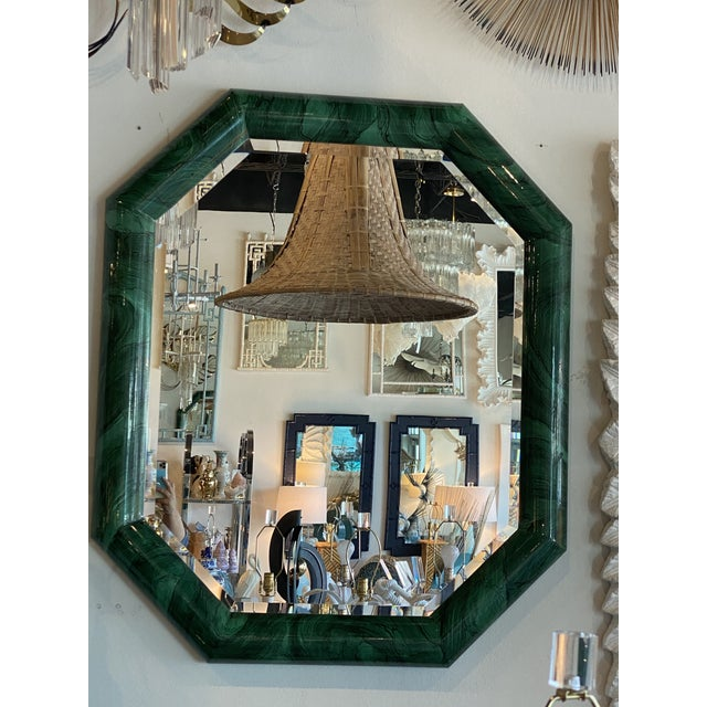 Glass Vintage Large Green Faux Malachite Vertical or Horizontal Octagon Wall Mirror For Sale - Image 7 of 13