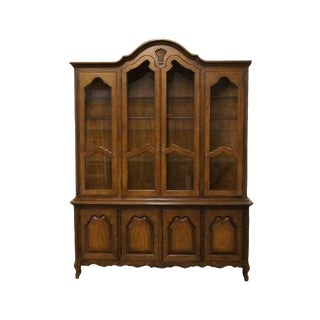 20th Century French Lighted Breakfront China Cabinet For Sale