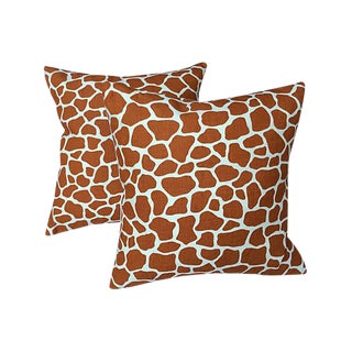 Giraffe Print Pillows - A Pair