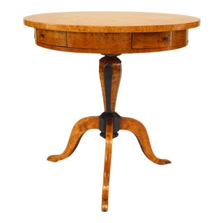 Swedish Biedermeier Karelian Birch End Table For Sale