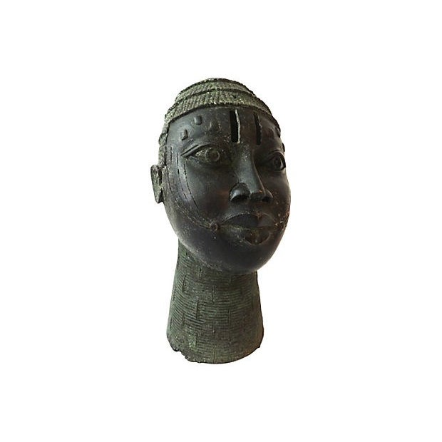 African Benin Bronze Head of King Oba - Image 6 of 6