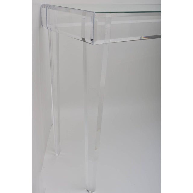 """Glass Vintage Lucite and Mirror Console 60"""" - Floor Sample For Sale - Image 7 of 13"""