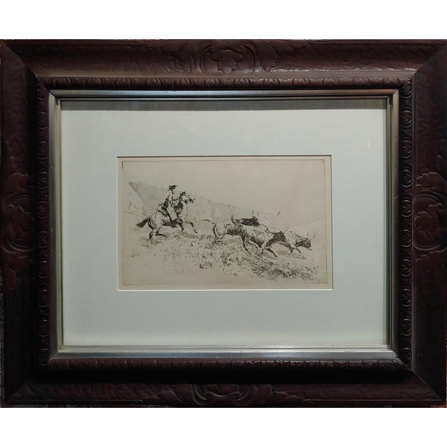 Country Edward Borein -Cowboy Rounding Up Cattle -1930s Etching For Sale - Image 3 of 9