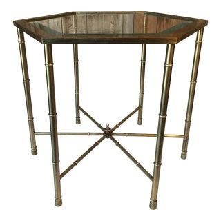 Hollywood Regency Mastercraft Faux Bamboo Brass Side Table For Sale