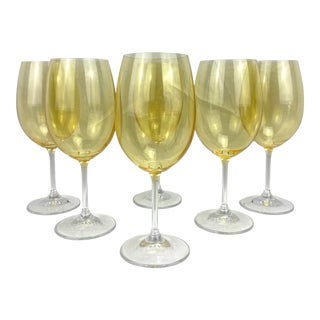 Late 20th Century Yellow Glass Wine Glasses, Set of 6 For Sale