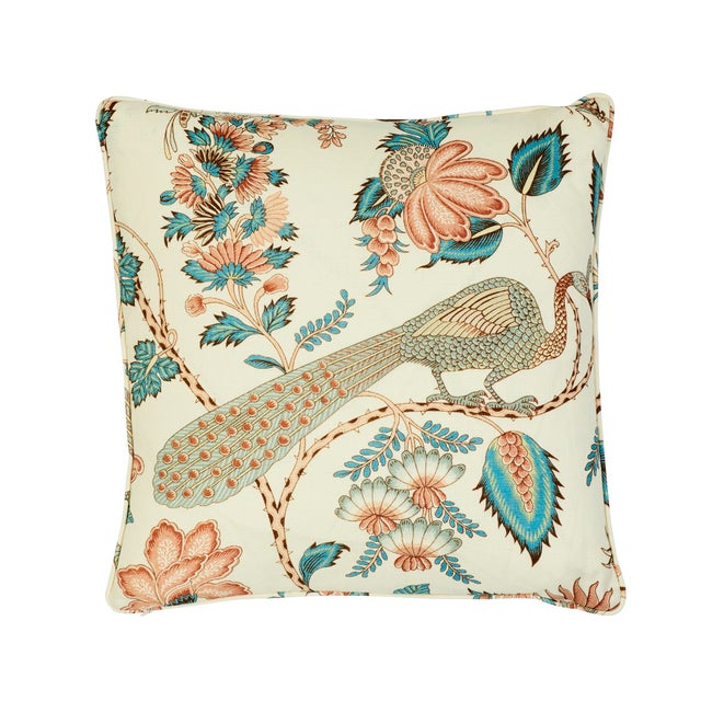"""This 18"""" x 18"""" pillow features Campagne in Peacock & Rouge. A lush, lively interpretation of a classic French design, with..."""