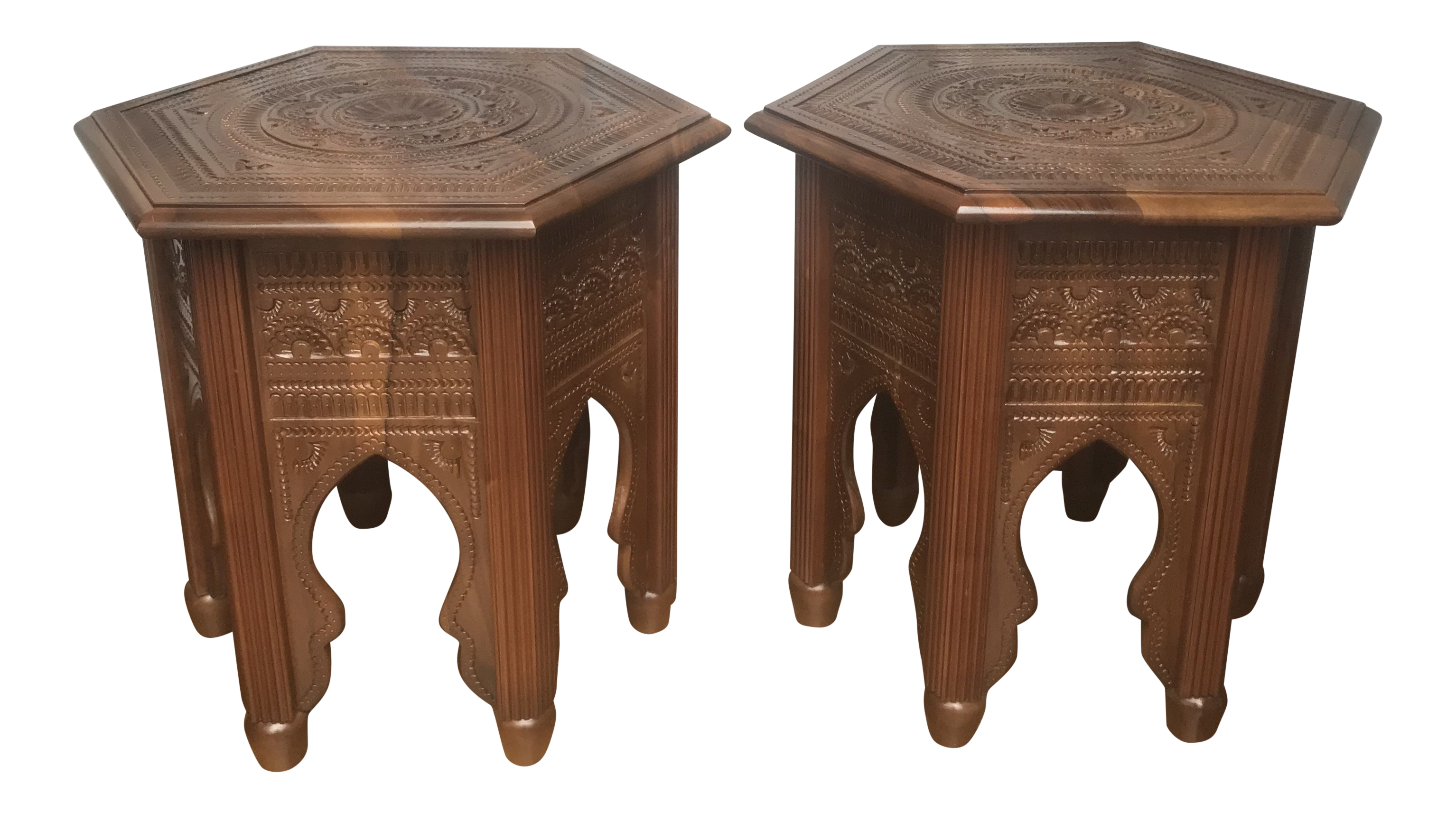 Carved Moroccan Style Side Tables A Pair
