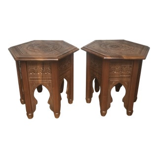 Carved Moroccan Style Side Tables - A Pair For Sale