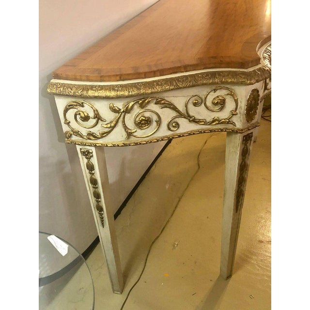 Louis XV Painted Console or Demilune Table Fine Wood Top Louis XV Style by Maison Jansen For Sale - Image 3 of 13