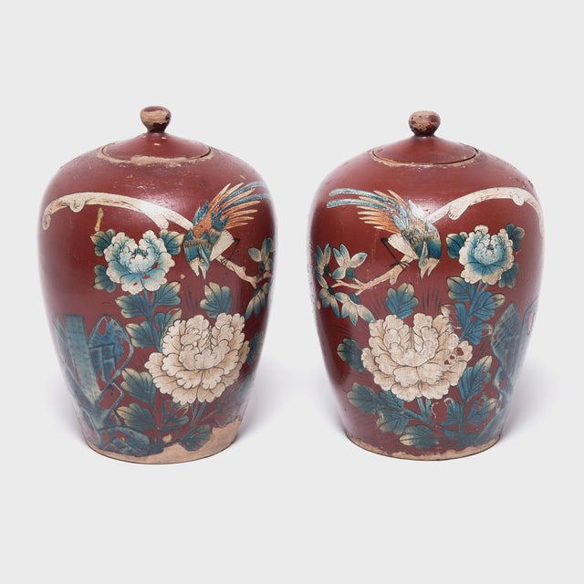 Chinese Painted Oxblood Jars With Phoenix & Peonies - a Pair For Sale - Image 13 of 13
