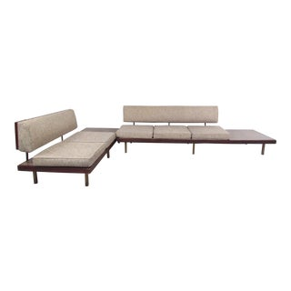 Pair of Mid-Century Modern Sofas With End Tables For Sale
