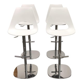 Bontempi Shark Bar White Height Stools - Set of 4