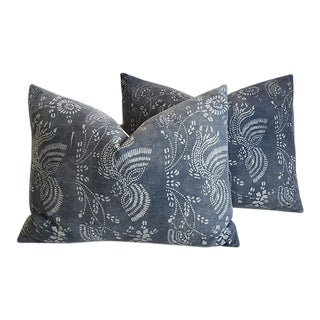 "Gray & White Shanghai Batik Chinoiserie Feather/Down Pillows 27"" X 17"" - Pair For Sale"