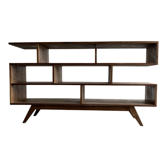 Walnut Modern Book Case For Sale