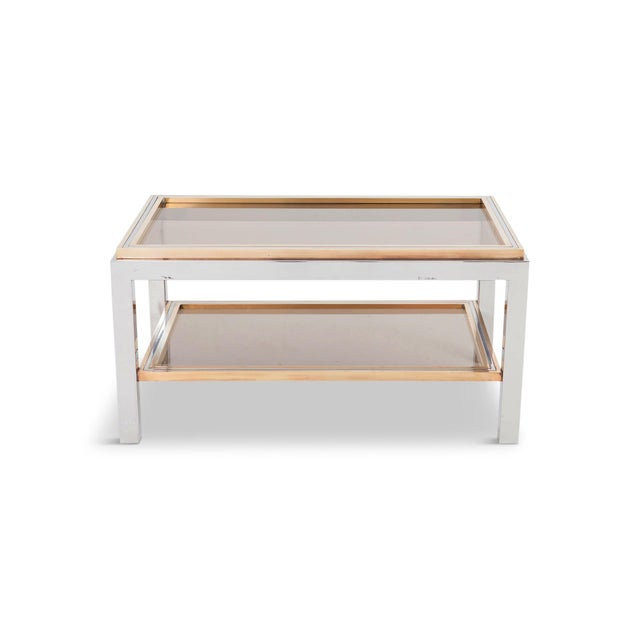 Italian Willy Rizzo Rectangular Side Table in Brass, Chrome & Glass For Sale - Image 3 of 12