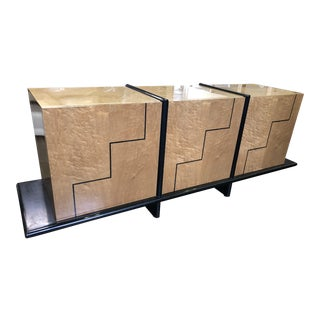 1990s Contemporary Pace Collection Burlwood Credenza For Sale