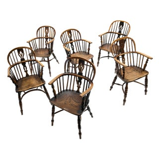 Antique English Windsor Oak and Elmwood Dining Chairs - Set of 6 For Sale