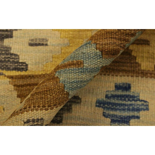 Rustic Southwestern Dustin Gray/Blue Hand-Woven Kilim Wool Rug -5'11 X 8'2 For Sale - Image 4 of 8