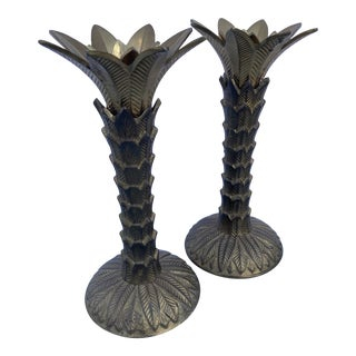Brass Palm Candlesticks – a Pair For Sale