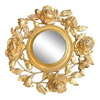 Gold Gilt Floral Mirror For Sale