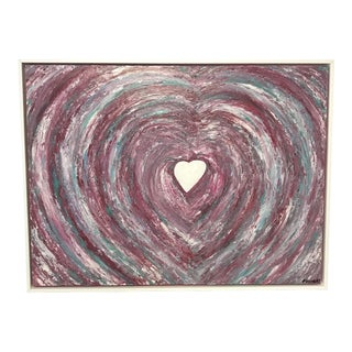Oil Painting Framed Abstract Heart on Canvas by Franchy For Sale