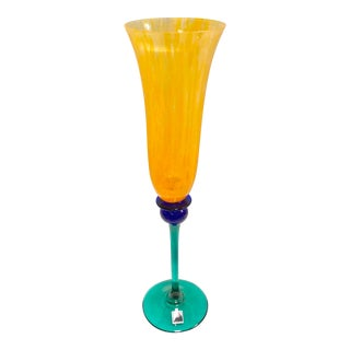 "Signed Opus ""Mardi Gras"" Orange Champagne Flute For Sale"