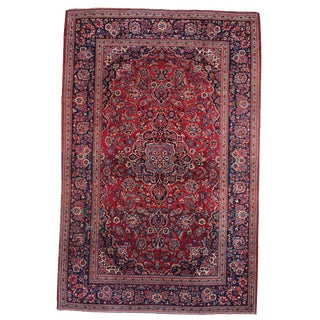 1920s Handmade Antique Persian Kashan Rug - 4.6' X 6.9' For Sale