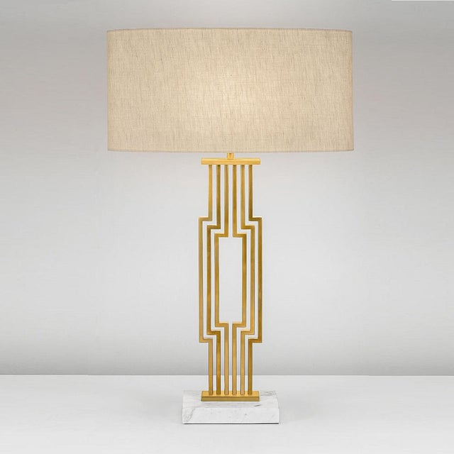 Art Deco Provence Brushed Brass Table Lamp With Shade For Sale - Image 3 of 4