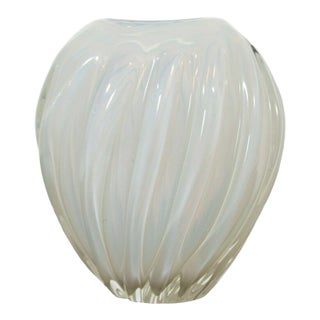 Contemporary Modern Opalescent Studio Art Translucent Glass Vase Vessel For Sale