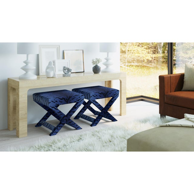Not Yet Made - Made To Order X Bench In Royal Tiger By Old World Weavers For Sale - Image 5 of 7